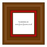 赤いアクセントの入った木製の太めの四角額縁イラスト