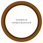 シンプルな円形の木製額縁イラスト、フレーム・枠