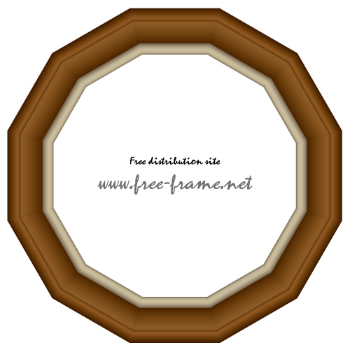 【無料・商用可能】枠・フレーム素材配布サイト    12角形の木製額縁イラスト、フレーム・枠