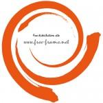 ぐるっと巻かれたオレンジ色の毛筆の円形フレーム・枠