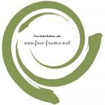 ぐるっと巻かれた緑色の毛筆の円形フレーム・枠