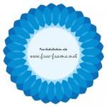 大きな花のような青い円形フレーム・枠