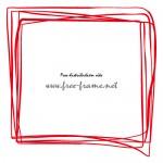 ラフな手描き風の赤い四角形フレーム・枠