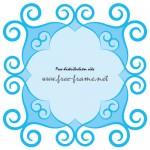 蔦モチーフが飾られた青い四角形フレーム・枠