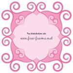 蔦モチーフが飾られたピンク色の四角形フレーム・枠