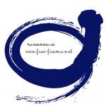 毛筆の紺色の荒々しい楕円フレーム・枠
