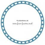 青色の鎖が連なる円形フレーム・枠