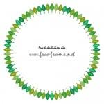 葉っぱのイラストが並ぶ円形フレーム・枠