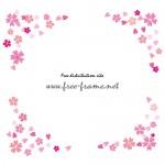 ピンクの桜のイラストの四隅フレーム・枠