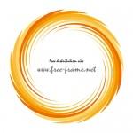 オレンジ色の渦状の円形フレーム・枠
