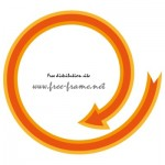オレンジ色の矢印の円形フレーム・枠