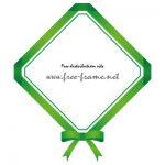 緑色のリボンの四角フレーム・枠