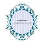 青色の蔦のイラストオーバルフレーム・枠