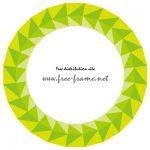 緑色の三角形が並ぶ円形フレーム・枠