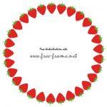 苺のイラストの円形フレーム・枠