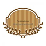 茶色の蔦のイラスト付きラベルフレーム・枠