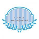 青色の蔦のイラスト付きラベルフレーム・枠