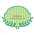 緑色の蔦のイラスト付きラベルフレーム・枠