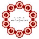 赤い巴紋が連なる円形フレーム・枠