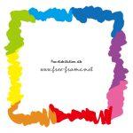 虹色のラフな四角フレーム