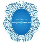 青色のダマスク柄の楕円・オーバルフレーム
